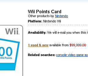 Capture d'écran d'Amazon.com avec une carte de 2000 points Wii à $99,999