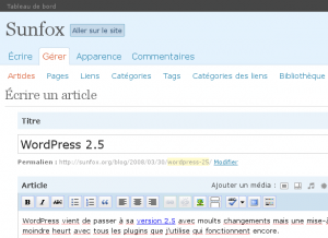 Capture d'écran de cet article dans l'administration de WordPress