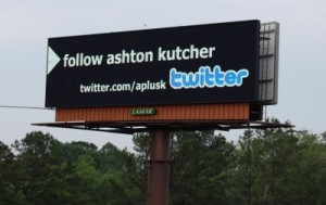 Ashton Kutcher on Twitter billboard